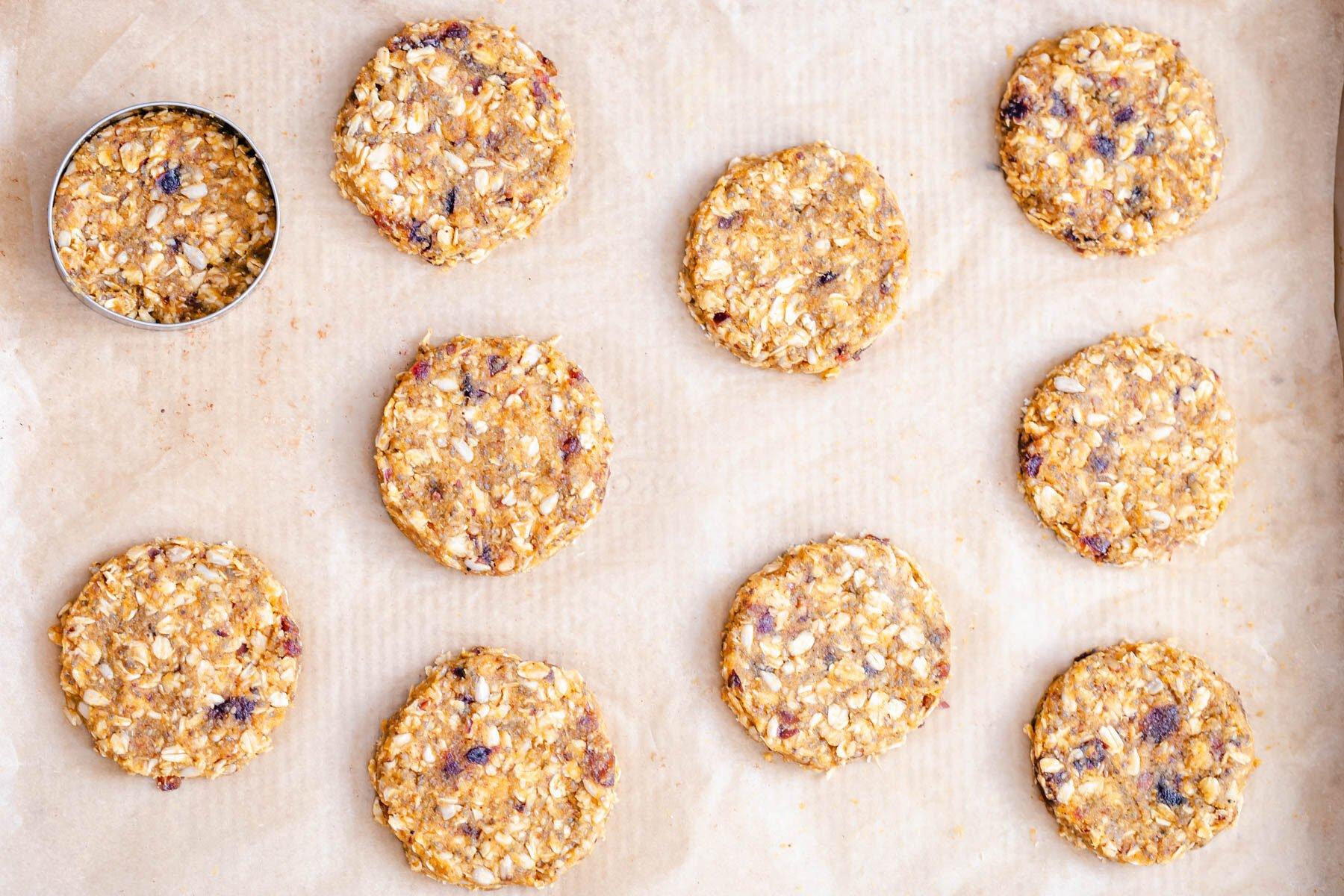 unbaked pumpkin breakfast cookies on a cookie sheet