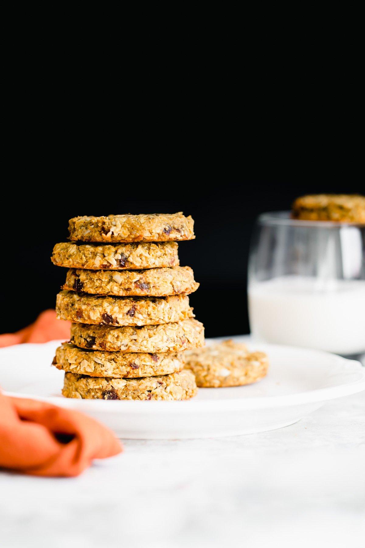 a stack of healthy pumpkin breakfast cookies